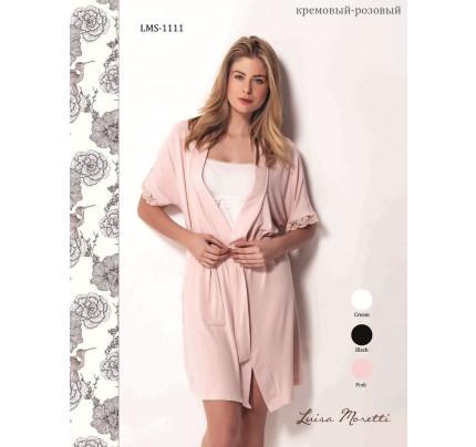 Пижама c халатом Luisa Moretti LMS-1111 (кремовая-розовая)