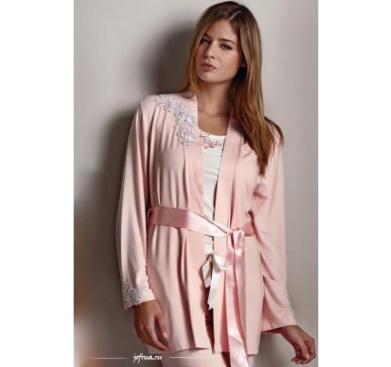 Пижама c халатом Luisa Moretti LMS-2011 (кремовая-персиковая)
