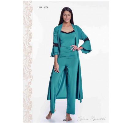 Пижама c халатом Luisa Moretti LMS-4038 (зеленая)