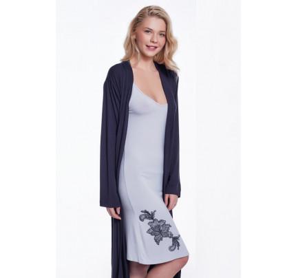 Пижама c халатом Luisa Moretti LMS-4044 (черно-серый)