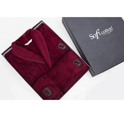 Подарочный набор Soft Cotton Luxure бордовый (халат + полотенца)