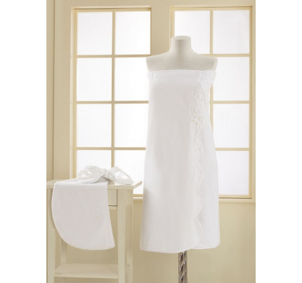 Набор для сауны женский Soft Cotton Masal (белый) размер S-L