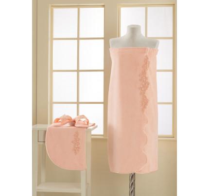 Набор для сауны женский Soft Cotton Masal (персиковый) размер S-L