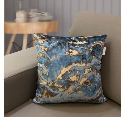 Декоративная наволочка Sofi de Marko Мрамор (синяя) 45x45