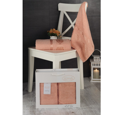 Набор полотенец Karna в коробке Rebeka (абрикосовый, 2 предмета)