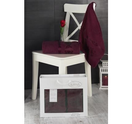 Набор полотенец Karna в коробке Rebeka (бордовый, 2 предмета)