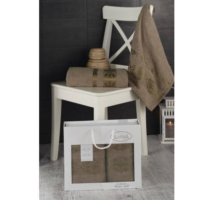 Набор полотенец Karna в коробке Rebeka (кофейный, 2 предмета)