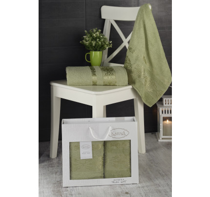 Набор полотенец Karna в коробке Rebeka (темно-зеленый, 2 предмета)