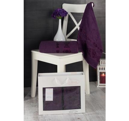 Набор полотенец Karna в коробке Rebeka (фиолетовый, 2 предмета)