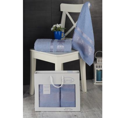 Набор полотенец Karna в коробке Rebeka (голубой, 2 предмета)