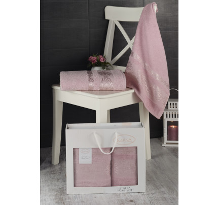 Набор полотенец Karna в коробке Rebeka (грязно-розовый, 2 предмета)