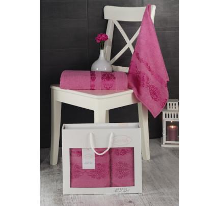 Набор полотенец Karna в коробке Rebeka (розовый, 2 предмета)
