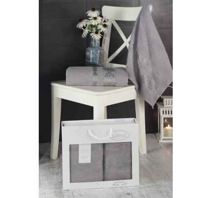 Набор полотенец Karna в коробке Rebeka (серый, 2 предмета)