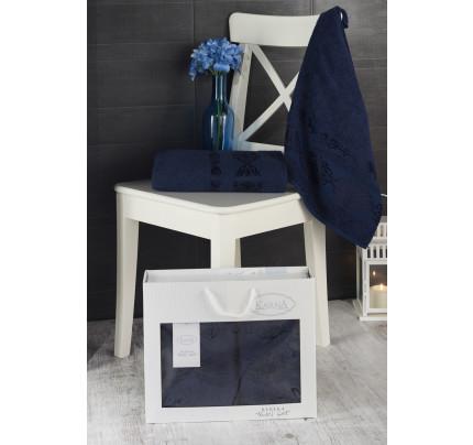 Набор полотенец Karna в коробке Rebeka (синий, 2 предмета)