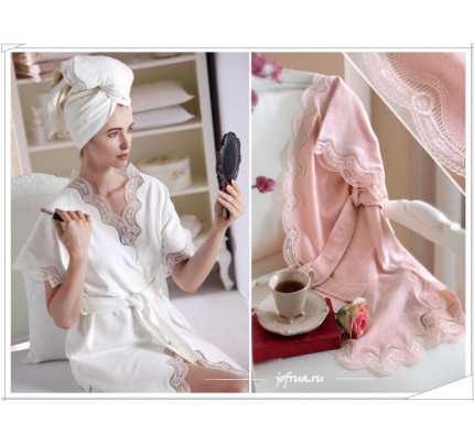 Халат Tivolyo Bamboo (розовый) размер S-M + полотенце 50x100