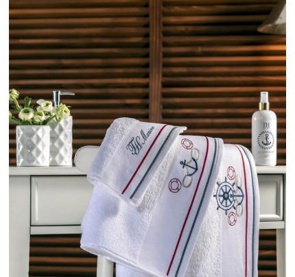 Набор полотенец Tivolyo Home Navy (белый) 3 предмета + ароматизатор