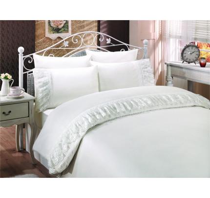 Свадебное постельное белье Neslisah (белое) евро
