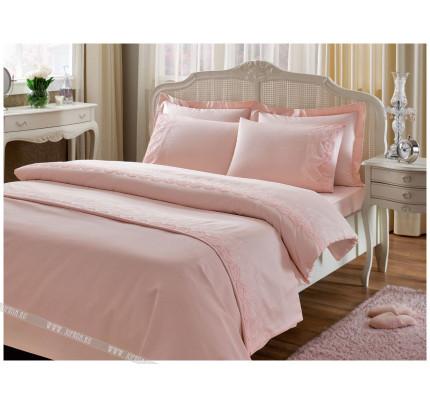 Набор Tivolyo Home Nova (постельное белье + плед) розовый евро