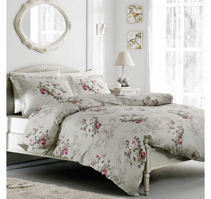 Постельное белье Tivolyo Home Rose Classic (серое)