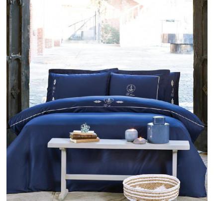 Постельное белье Tivolyo Home Ancora (темно-синее) евро