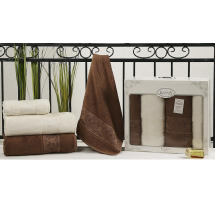 Набор полотенец Karna Pandora (кремовый-коричневый, 4 предмета)