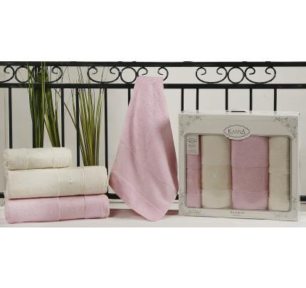 Набор полотенец Karna Pandora (кремовый-светло-розовый, 4 предмета)