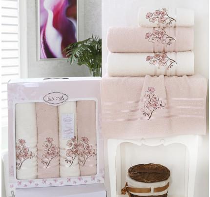 Набор полотенец Karna Papilon (светло-абрикосовый, 4 предмета)