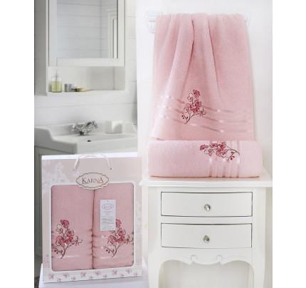 Набор полотенец Karna Papilon (светло-розовый, 2 предмета)