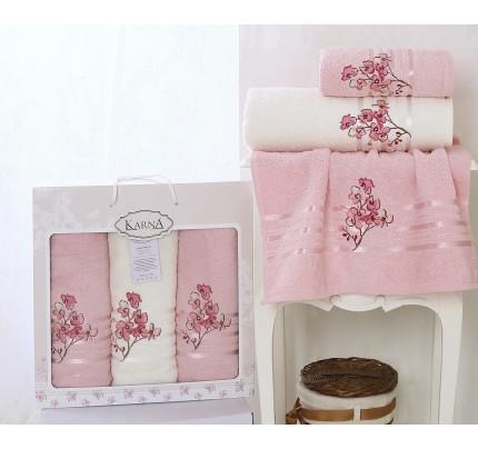 Набор полотенец Karna Papilon (светло-розовый, 3 предмета)