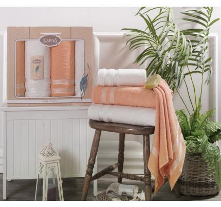 Набор полотенец Karna Petek (кремовый-абрикосовый, 4 предмета)