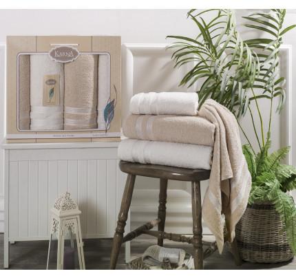 Набор полотенец Karna Petek (кремовый-бежевый, 4 предмета)