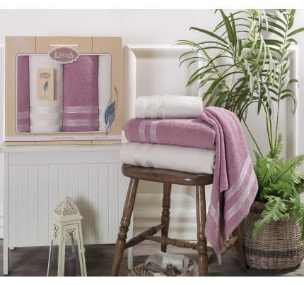 Набор полотенец Karna Petek (кремовый-грязно-розовый, 4 предмета)