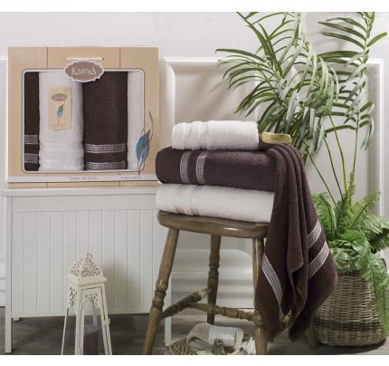 Набор полотенец Karna Petek (кремовый-коричневый, 4 предмета)