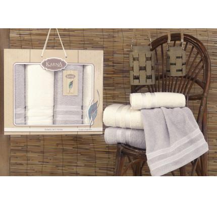 Набор полотенец Karna Petek (кремовый-серый, 4 предмета)