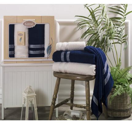Набор полотенец Karna Petek (кремовый-синий, 4 предмета)