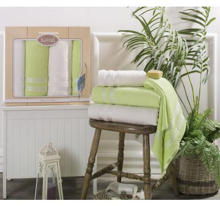 Набор полотенец Karna Petek (кремовый-зеленый, 4 предмета)