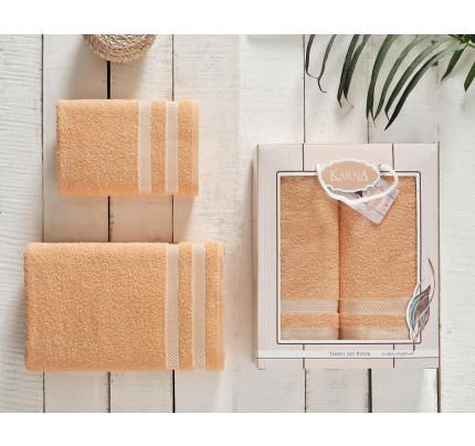 Набор полотенец Karna Petek (абрикосовый, 2 предмета)