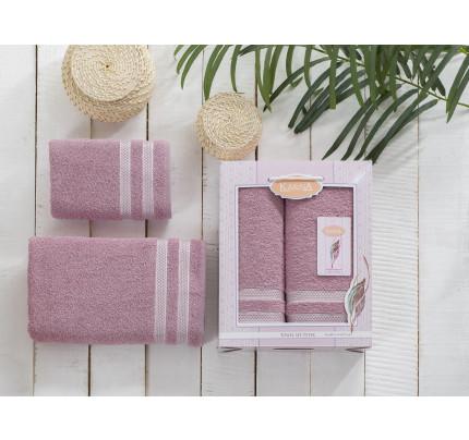 Набор полотенец Karna Petek (грязно-розовый, 2 предмета)