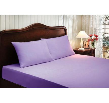 Сатиновая простынь на резинке Tivolyo с наволочками (фиолетовый)