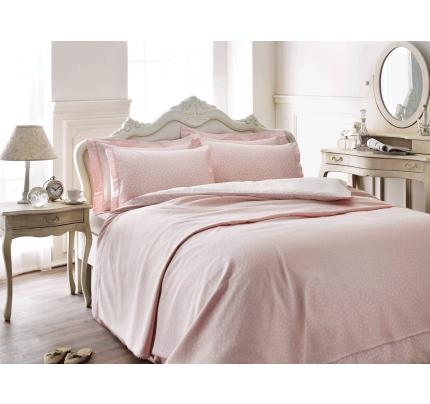 Набор с покрывалом Tivolyo Punto (розовый) евро