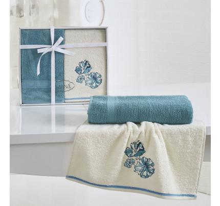 Набор полотенец Karna Rodos (бирюзовый, 2 предмета)