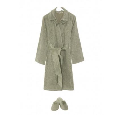 Набор халат + тапочки Soft Cotton Rose (зеленый)