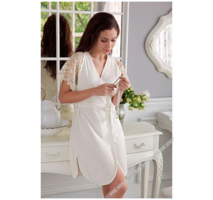 Халат Tivolyo San Tropez (белый) размер S-M + полотенце 50x100
