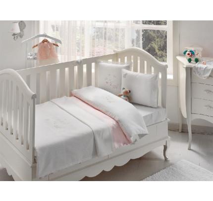 Набор в кроватку с покрывалом Tivolyo Stork (розовое)