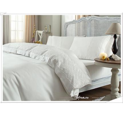 Свадебное постельное белье Bella (белое) евро