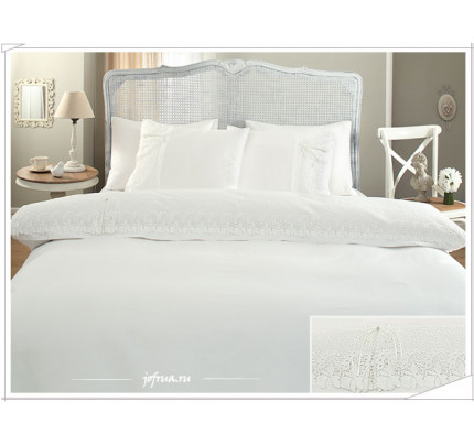 Свадебное постельное белье Gelin Home Caroline (белое) евро