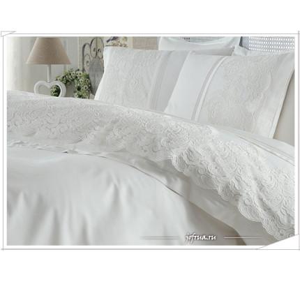 Свадебное постельное белье Gelin Home Elmas (белое) евро