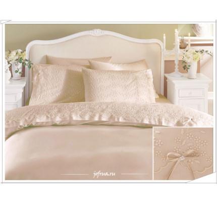 Свадебное постельное белье Gelin Home Gelin (бежевое) евро