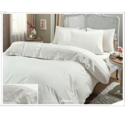 Свадебное постельное белье Gelin Home Lilya (белое) евро