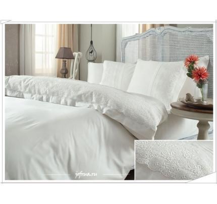 Свадебное постельное белье Narin (белое) евро